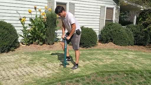 Taking grass plugs from sod